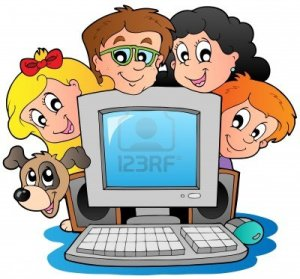 10354188-computer-with-cartoon-kids-and-dog